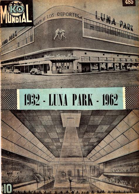 1972 tapa revista k.o. En su num 485 la revista le dedicó tapa y una breve reseña histórica del Luna y su importancia en el box latinoamericano.
